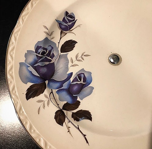 Blue Rose Vintage Cake Plate