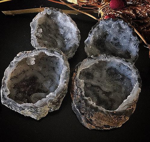 Black Agate & Quartz Pot Crystal Rock