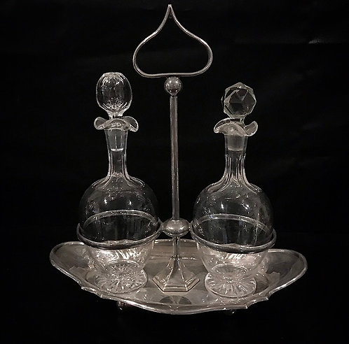 Antique Crystal + Silver Plated Condiment Set