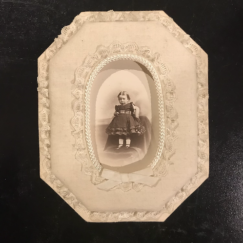 Cabinet Card of Little Baby Girl in Fabric Frame
