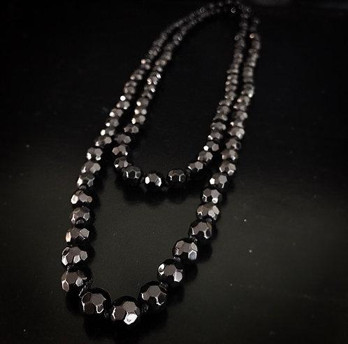 Extra Long Jet Glass Necklace