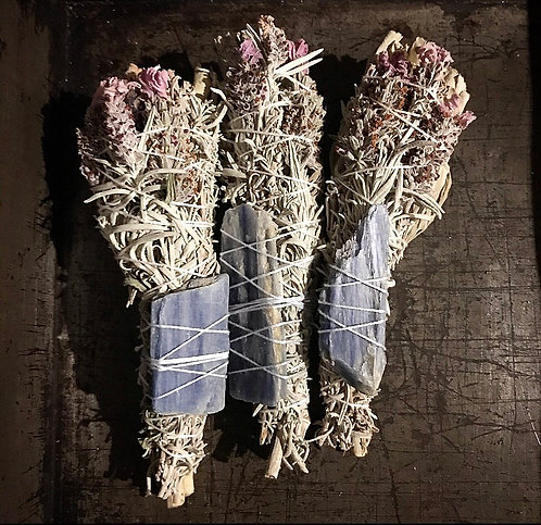 White Lavender & White Sage with Blue Kyanite
