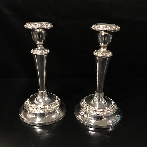Silver Plated Polished Candlestick Holder Pair