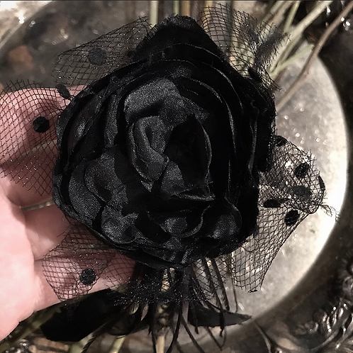 Antique Black Silk Flower