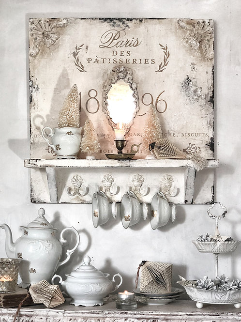 "French style shelf with hooks ""Paris Des Patisseries"""