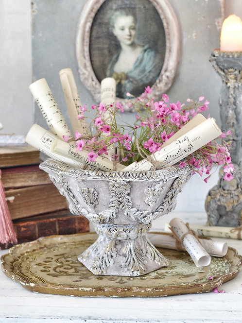 Antique Style Pink Pedestal Planter