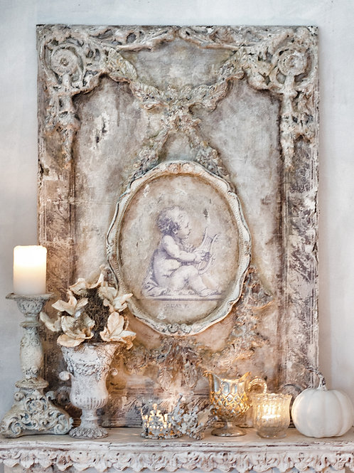 Cherub with Harp Wall Plaque