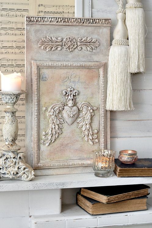 French Style Winged Heart Wall Panel