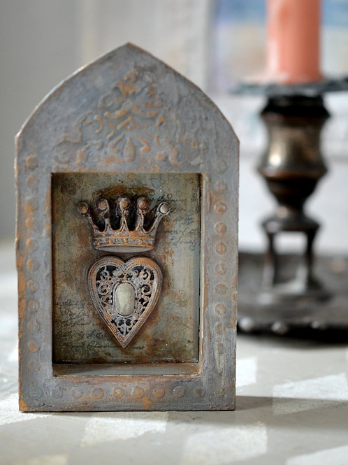 Heart with Crown in a Shadow Box