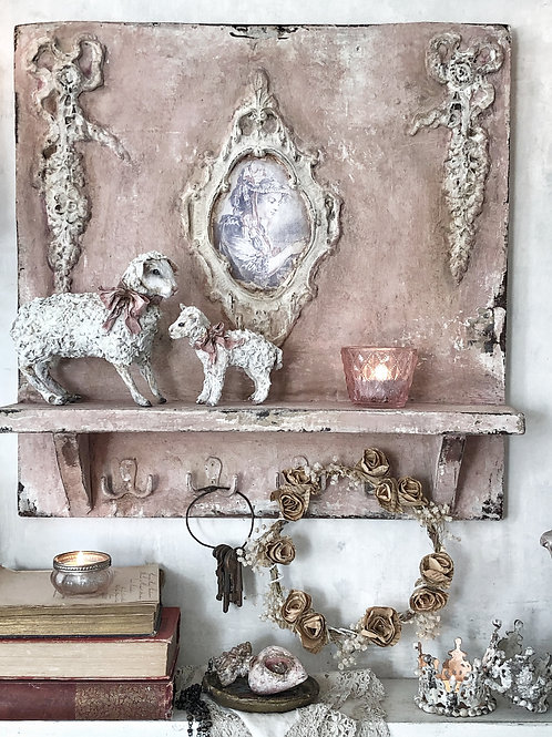 Pink Patina French style shelf with hooks