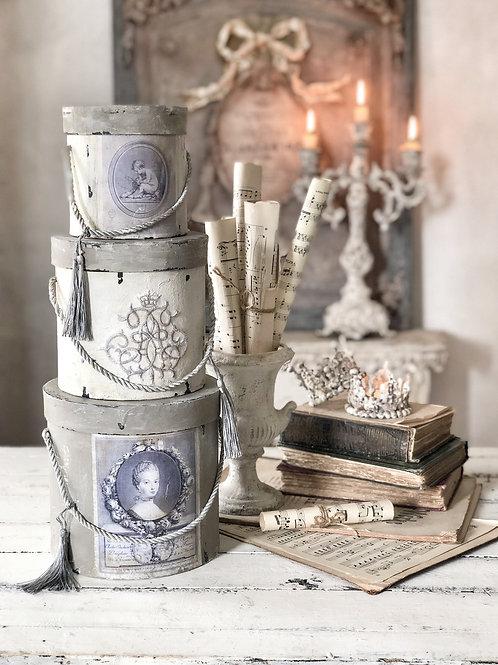 Marie Antoinette Hat Boxes,set of 3