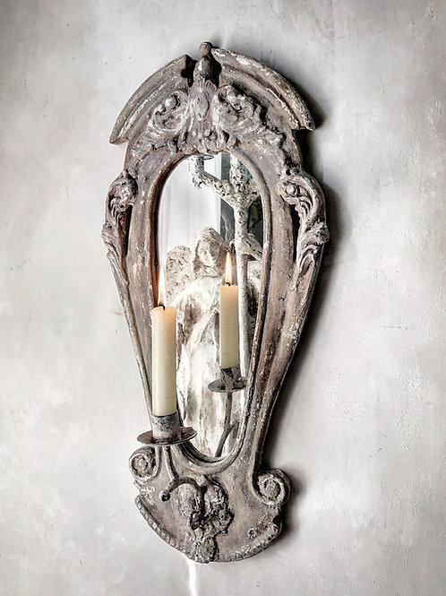 Antique Mirrored Candle Wall Sconce