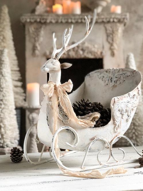 White Victorian Deer Sleigh
