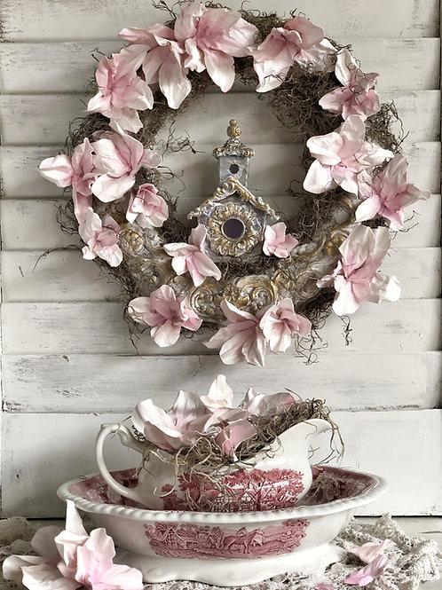 Spring Magnolia Wreath - Pink