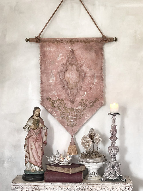 Dusky Pink Tapestry Wall Banner Art