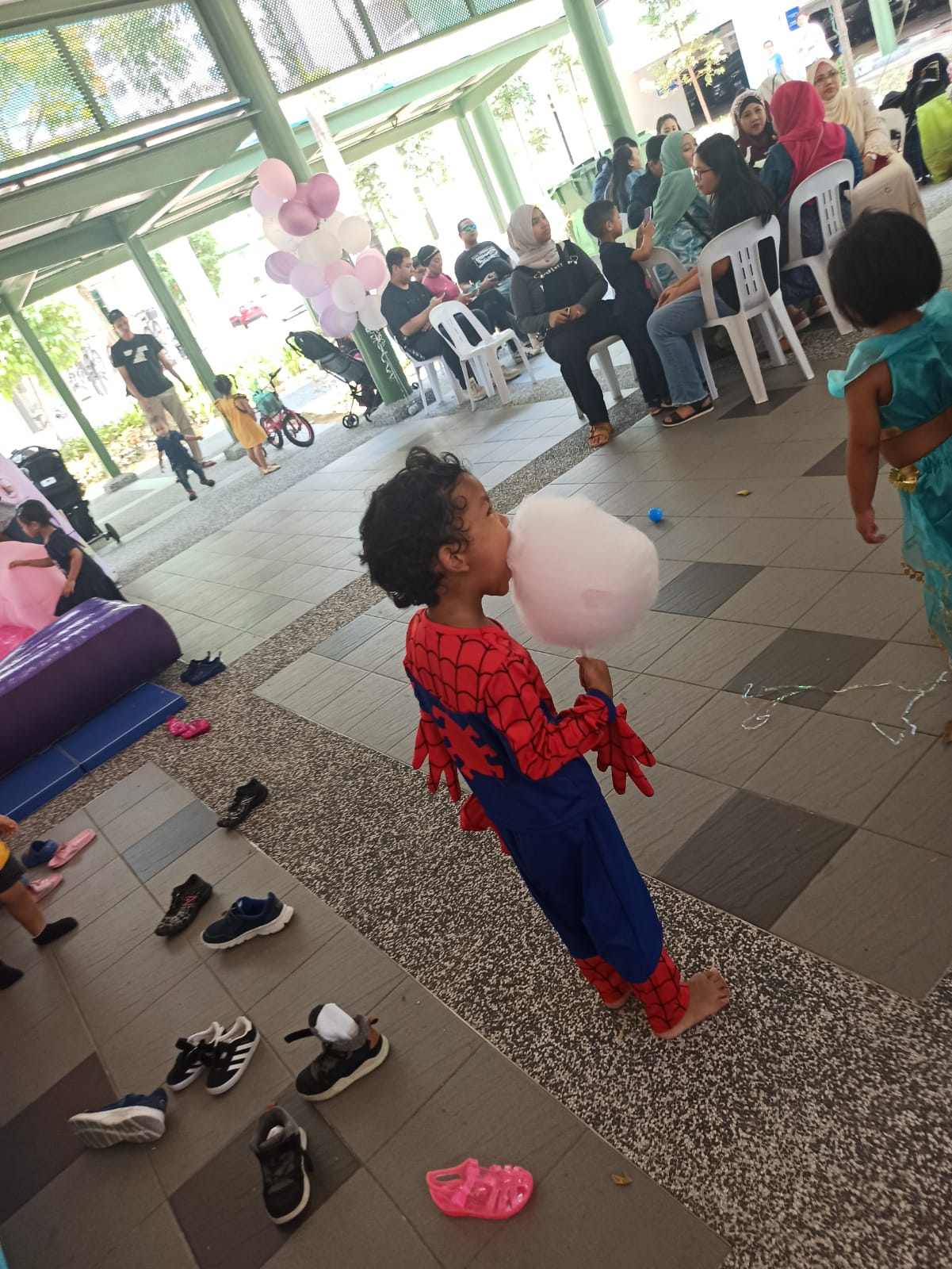 Spiderman eating cotton candy