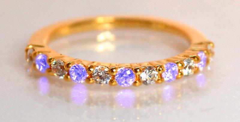 12月誕生石タンザナイト&ダイヤモンド ハーフエタニティリング K18PG(18金ピンクゴールド)