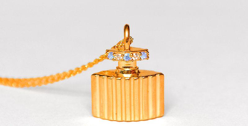 【3月誕生石アクアマリン&ダイヤモンド】 香水ボトル ペンダントネックレス K18PG(18金ピンクゴールド)