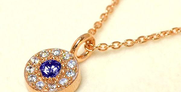 【9月誕生石サファイア&ダイヤモンド】 ストーンサークルペンダントネックレス K18PG(18金ピンクゴールド)