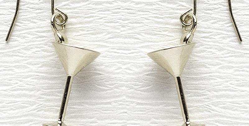 カクテルグラスピアス  鏡面仕上げ  スターリングシルバー(SV925)