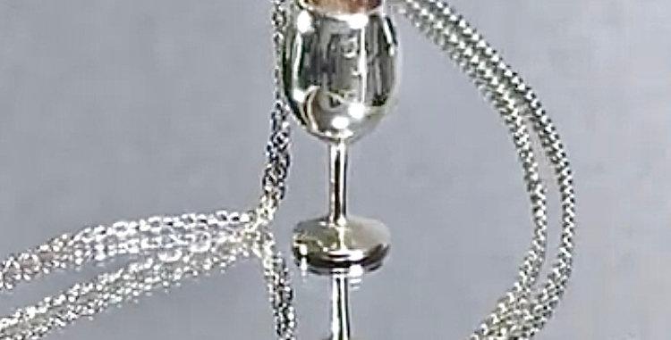 ワイングラス ペンダントネックレス 鏡面仕上げ シルバー925