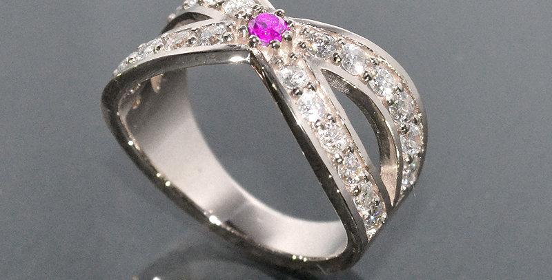 【10月誕生石】 ピンクトルマリン&ダイヤモンド  インターセクトリング  K18WG(18金ホワイトゴールド)