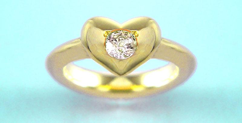 ぷっくりハートのベビーリング 4月誕生石ダイヤモンド K10YG(10金イエローゴールド)