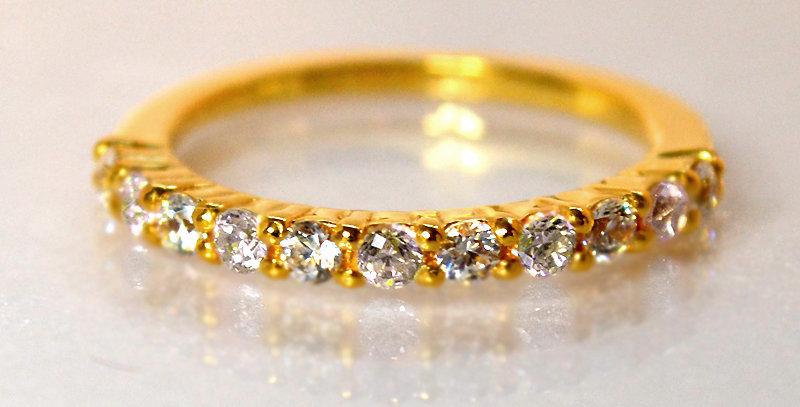 4月誕生石ダイヤモンド ハーフエタニティリング K18YG(18金イエローゴールド)