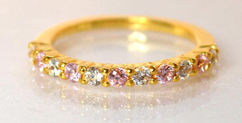 10月誕生石ピンクトルマリン&ダイヤモンド ハーフエタニティリング K18YG(18金イエローゴールド)