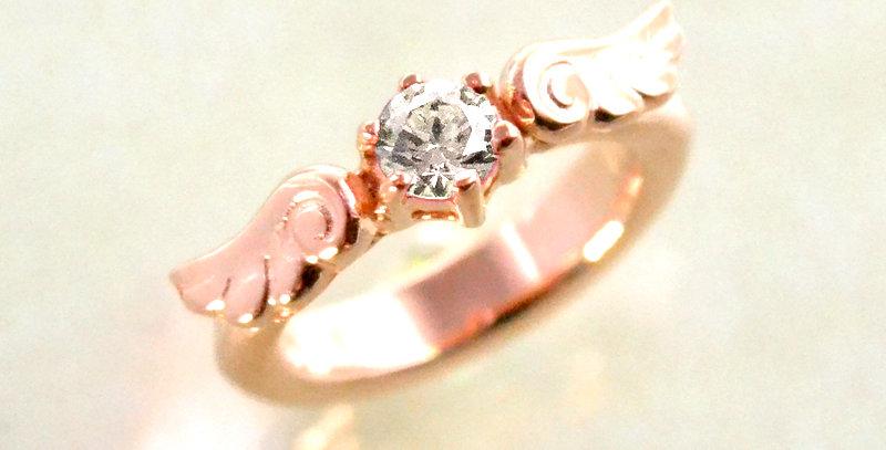 エンジェルエンゲージベビーリング 4月誕生石ダイヤモンド K10PG(10金ピンクゴールド)