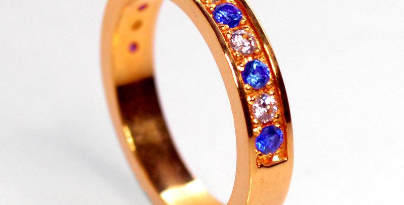 【9月誕生石サファイア&ダイヤモンド】  ハーフエタニティリング K18PG(18金ピンクゴールド)