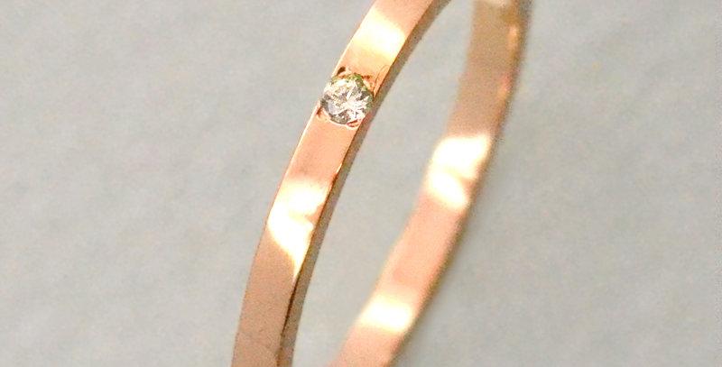 一粒ダイヤモンド フラットリング 4月誕生石    K10PG(10金ピンクゴールド)