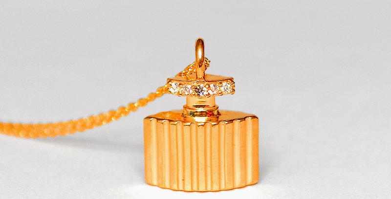 香水ボトル ダイヤモンドペンダントネックレス K18PG(18金ピンクゴールド)