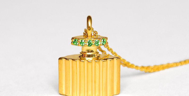 香水ボトルペンダントネックレス スターリングシルバー(SV925) ゴールドコーティング キュービックジルコニア(グリーン)