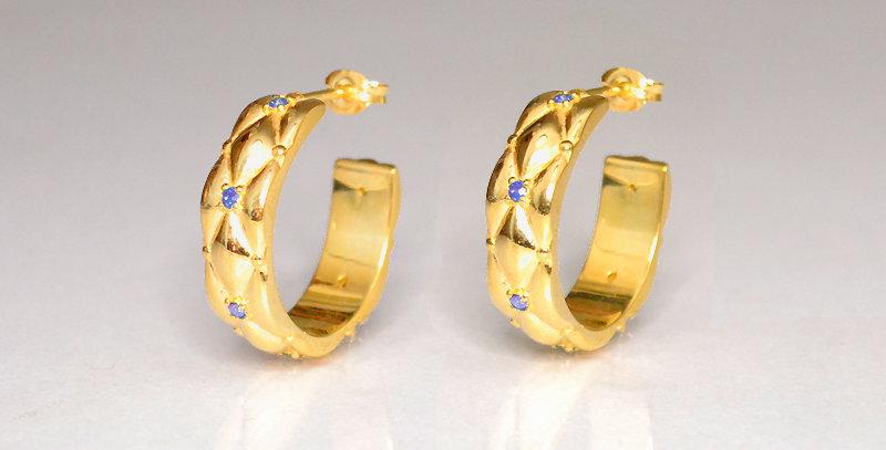 12月誕生石タンザナイト ダイヤキルトフープピアス スターリングシルバー(SV925) ゴールドコーティング