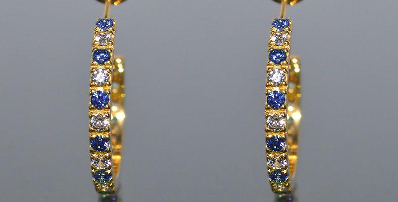 9月誕生石サファイア&ダイヤモンド エタニティフープピアス K18YG(18金イエローゴールド)