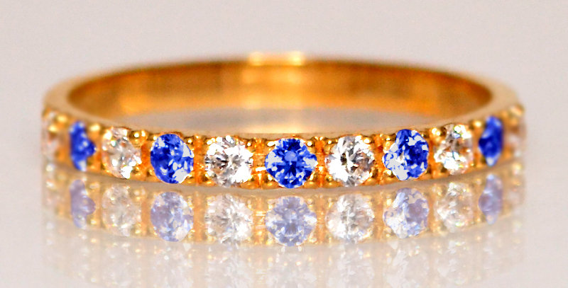 9月誕生石サファイア&ダイヤモンド ハーフエタニティリング K18PG(18金ピンクゴールド)