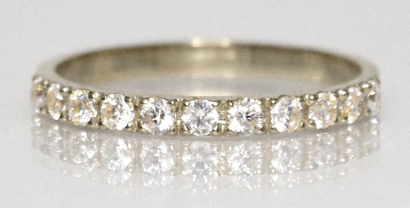4月誕生石ダイヤモンド ハーフエタニティリング K18WG(18金ホワイトゴールド)