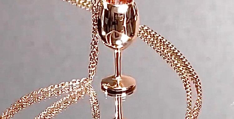 ワイングラス ペンダントネックレス 鏡面仕上げ シルバー925 ピンクゴールドプレーテッド