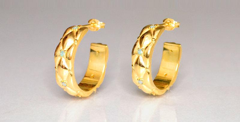 3月誕生石アクアマリン ダイヤキルトフープピアス スターリングシルバー(SV925) ゴールドコーティング