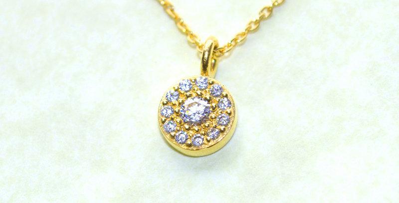 【4月誕生石ダイヤモンド】 ストーンサークルペンダントネックレス K18YG(18金イエローゴールド)