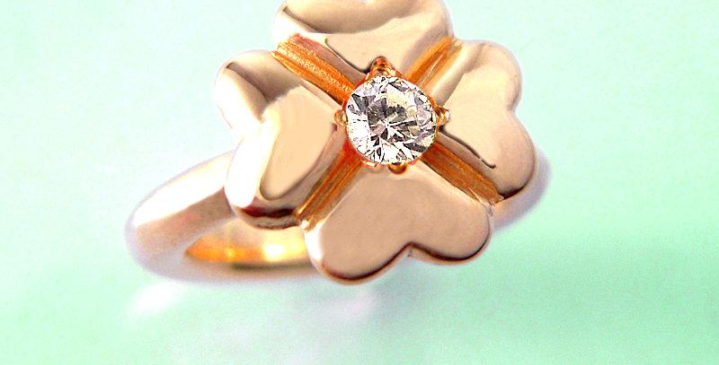 四つ葉のクローバーベビーリング 4月誕生石ダイヤモンド K10PG(10金ピンクゴールド)