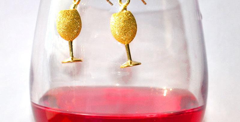 スパークリングワイン スターダストピアス  K18YG(18金イエローゴールド)