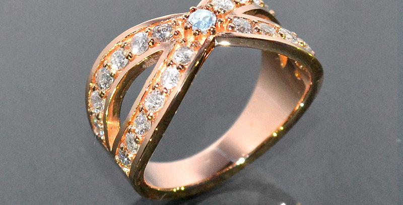 【6月誕生石】 ブルームーンストーン&ダイヤモンド  インターセクトリング  K18PG(18金ピンクゴールド)