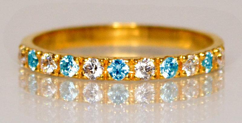 11月誕生石ブルートパーズ&ダイヤモンド ハーフエタニティリング K18YG(18金イエローゴールド)