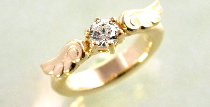 エンジェルエンゲージベビーリング 4月誕生石ダイヤモンド K10YG(10金イエローゴールド)