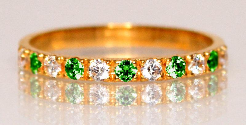 5月誕生石エメラルド&ダイヤモンド ハーフエタニティリング K18PG(18金ピンクゴールド)