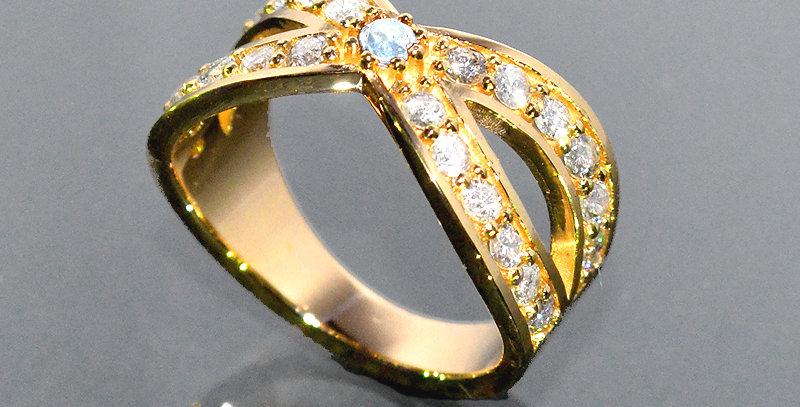 【6月誕生石】 ブルームーンストーン&ダイヤモンド  インターセクトリング  K18YG(18金イエローゴールド)