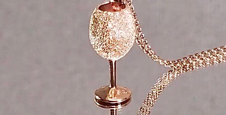 スパークリングワイン ペンダントネックレス スターダスト シルバーSV925 ピンクゴールドプレーテッド