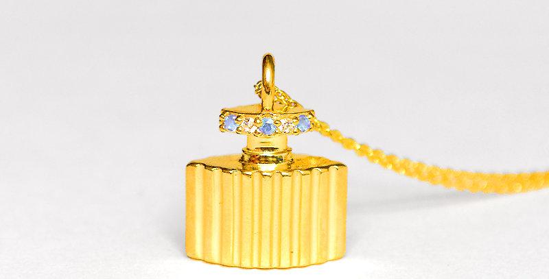 【3月誕生石アクアマリン&ダイヤモンド】 香水ボトル ペンダントネックレス K18YG(18金イエローゴールド)